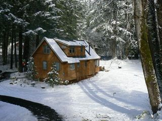 McKenzie Bridge cabin photo - Thanksgiving, room for sleds, and snow for the snowman.