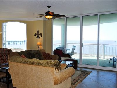 Living Room with Beautiful Panoramic View of Gulf!