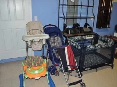 Highchair, Stroller, Baby Play Yard, Buster Seat.
