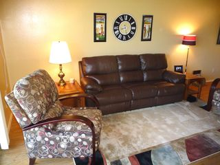 Twin Lakes condo photo - Living room with leather couch and 2 recliners.