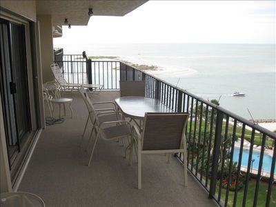 Patio over looking the gulf and Marco Island and pool and beach