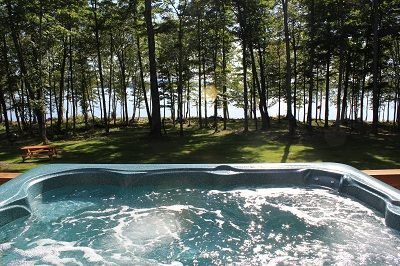 View of the lake from the hot-tub on the deck.