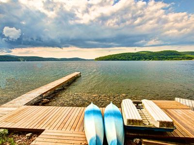 Kayaks, canoe ready for family fun. Explore the shore, paddle to the state park.
