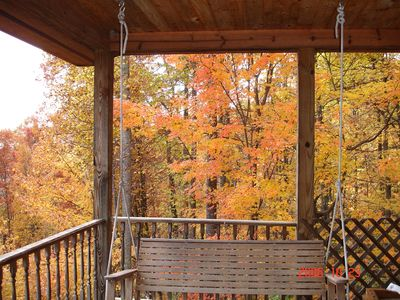 Swing on the Porch observing the Beautiful Fall Colors!