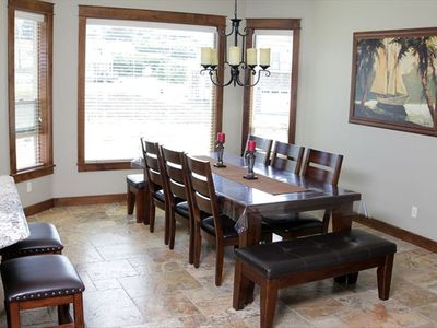 Dining room with table that seats 10 open to Kitchen and Great Room.