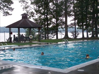 Wildwood Point Pool-surrounded by view of Lake Gaston, use on your stay!