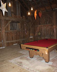 inside of Barn and pool table