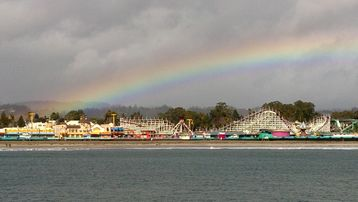Rainbow over Santa Cruz Beach Boardwalk Amusement Park!