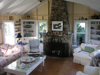Chilmark cottage photo - A 1920 original livingroom, and beachstone fireplace.