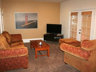 San Francisco apartment rental - Living room with overstuffed sofa, chair and a half with ottoman to lounge.
