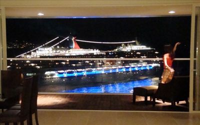 Night view - Cruise ship departing