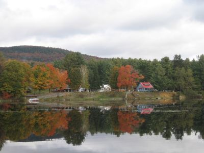 House seen from across the lake (red roof)