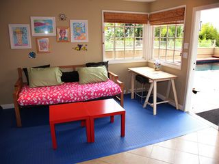 Del Mar house photo - Family Room: overlooking pool, with crafts bench and supplies; twin day bed