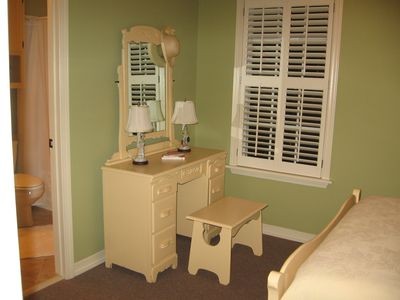 Antique Dressing Table and Bench in Back Bedroom/Small TV Sits on Dresser Now