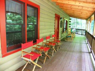 Maggie Valley cabin photo - Seating includes 3 rocking chairs, 4 director chairs and an outdoor table for 4.