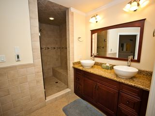 Atlantic City townhome photo - Master Bath With Heated Floor, 2 Vessel Sinks, and Large Walk in Shower!