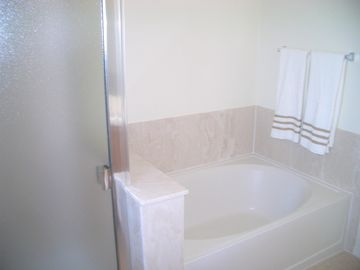 Master bath with separate over sized tub