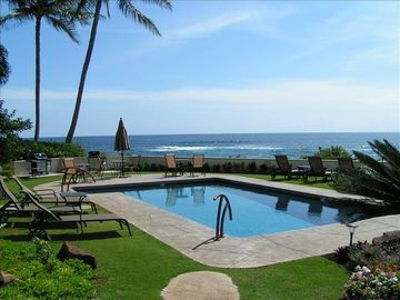 Koloa condo rental - Enjoy our brand new pool overlooking the ocean just steps from our lanai
