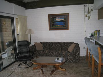 Living room, patio to the left, the kitchen is on the right.