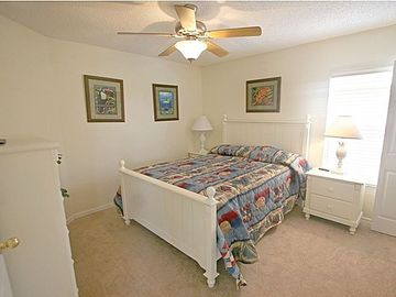 Upstairs Queen Bedroom 1 with TV and Ceiling Fan