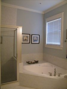 Master bath with garden tub, seperate shower and hair dryer.