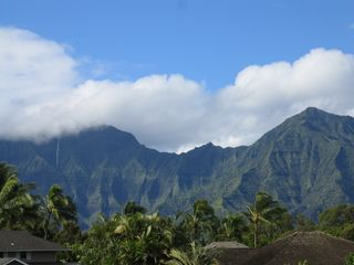 Princeville house photo - Mountain with waterfalls, viewed from upstairs lanai