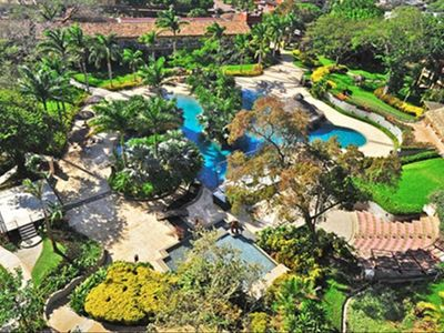 Tamarindo condo rental - arial view of hotel grounds - lagoon side