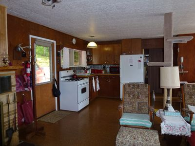 Branch Lake cabin rental - Looking at the kitchen from the living room