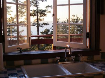Carmel Highlands cottage rental - View from Kitchen Window Looking West over the Pacific Ocean