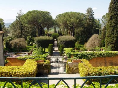 The Italian Garden of VillaPesciolini in the center of the village free entrance