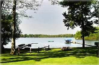 Birchwood Cove beach, renters' dock, swim platform