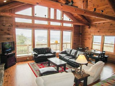 Carolina Cabin Rentals Cloud 9 Living Room in Awesome Log Home with Huge Views