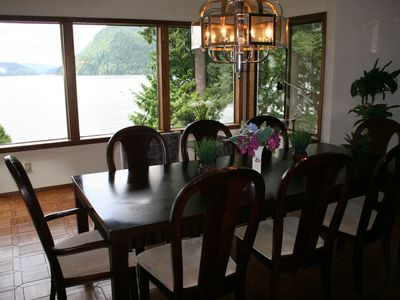 Formal dining room and lake view