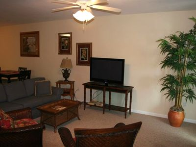 Relax in our comfortable family room and watch the flat screen tv