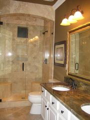 Emerald Shores house photo - 1st Flr Mstr Bath, Custom Travertine & Granite