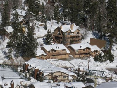 Big Bear Lake house rental - View from Bear Mountain Ski Resort of Bear Views, Chalets 6 BR behind