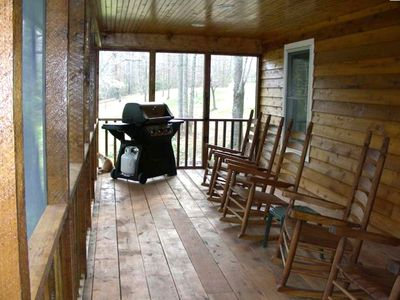 Large screened porch, BBQ and Rocking Chairs overlooking Rock Creek
