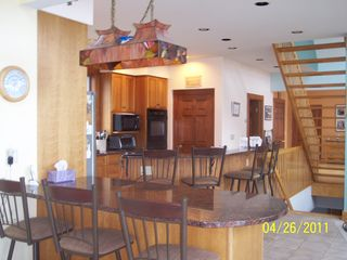 Westport Island house photo - Kitchen view from sun room with bar and granite countertops