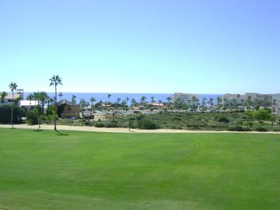 View from the terrace.  Looking across the golf course to the Sea of Cortez.