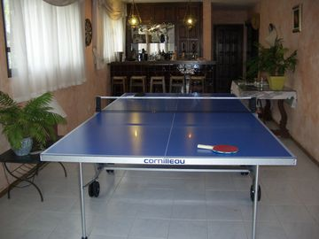 Bar with table tennis table