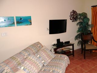 Cruz Bay condo photo - TV room of larger one-bedroom with queen futon in lower left, terrace to right
