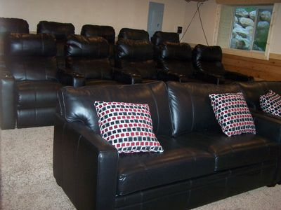 Relax & enjoy in reclining theatre chairs. Satelite TV & blueray DVD player