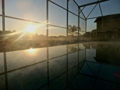 Misty morning magic on our pool.
