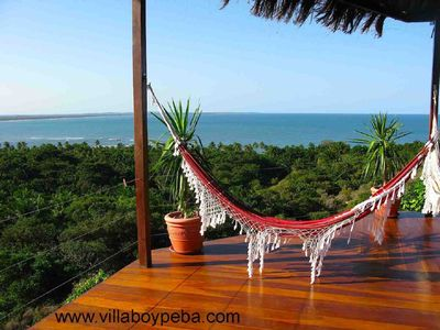 Veranda and the Ocean view from the Villa Boypeba