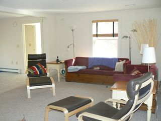 Vineyard Haven house photo - Open living room with 50 inch HD TV, DVD player & stereo/i-pod hookup