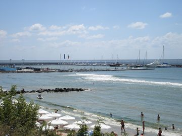 Saint Vlas beach and marina view from bacony