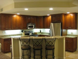 Belmont Towers Ocean City condo photo - Kitchen view with seating for 3 at the kitchen bar top