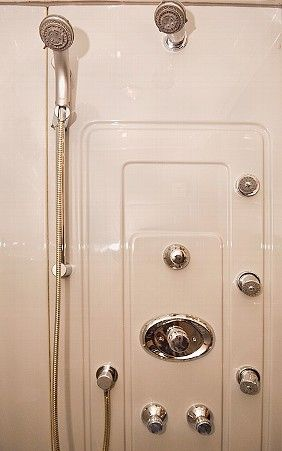 Close Up of the Grohe Body Sprays in our luxurious shower