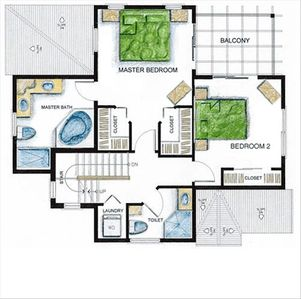 2nd Floor layout of our Cayman Rental Villa.    Loft is 1 floor up from here.