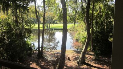 View of lagoon and 9th fairway of Galleon golf course from back porch.